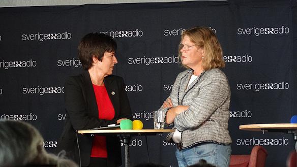 Mona Sahlin och Cecilia Stegö-Chilò medverkade i Sveriges Radios Studio ett, P1. Hur klarade partiledarna debatten. Foto: Peter Ahlborg