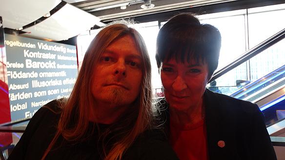 Peter Ahlborg och Mona Sahlin efter hennes medverkan i Sveriges Radio som sändes från kulturhuset i Stockholm i programmet   Studio ett. Foto: Privat