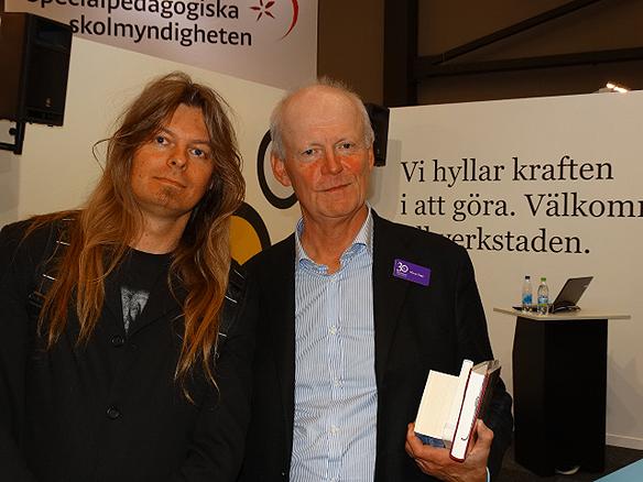 Peter Ahlborg och författaren Göran Hägg tillsammans på Bokmässan 2014.
