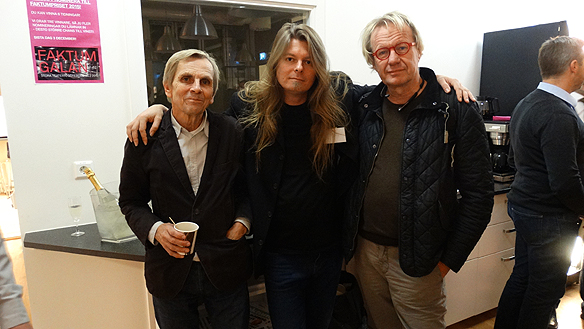Peter Ahlborg i mitten tillsammans med Staffan Forsman, till vänster, som  startade reklamfirman Forsman & Bodenfors samt Lennart Grebelius, en av  grundarna till Tidningen Faktum.