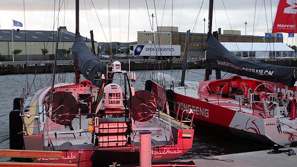 En av de sju mäktiga båtarna som hade deltagit i tävlingen i Volvo Ocean Race. Foto: Peter Ahlborg