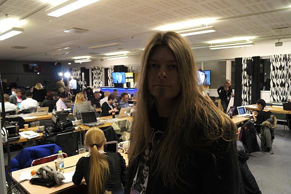 Peter följer Melodifestivalen i pressrummet i Scandinavium under den första deltävlingen i Göteborg 2016.