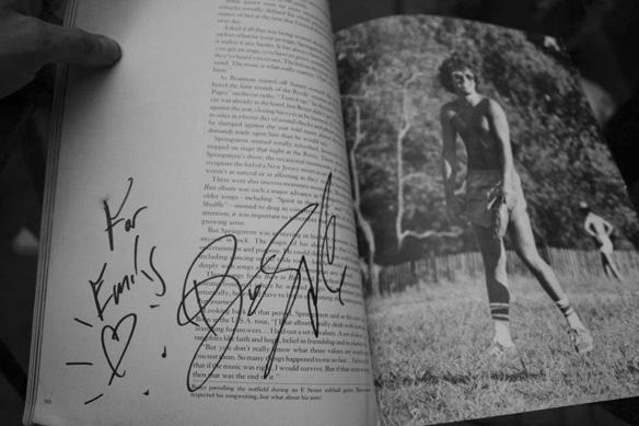 Ett personligt meddelande från Bruce Springsteen till Emelie Eklund. Foto: Peter Ahlborg