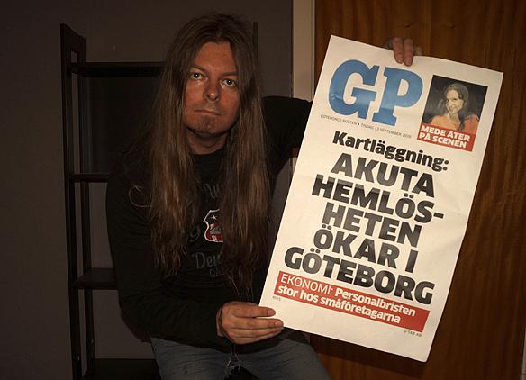 GP har med att att hemlösheten ökar i Göteborg på löpsedeln den 13 september 2016. Foto: Peter Ahlborg