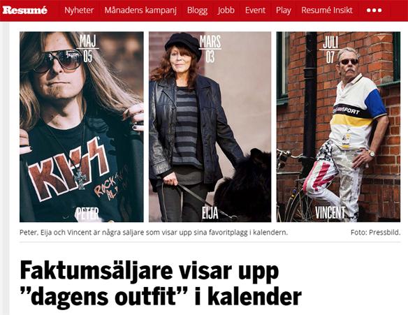 """Peter Ahlborg och några andra Faktum försäljare visar upp """"dagens outfit"""" i Faktumkalendern för 2017. Foto: Skärmdump från Resumé"""