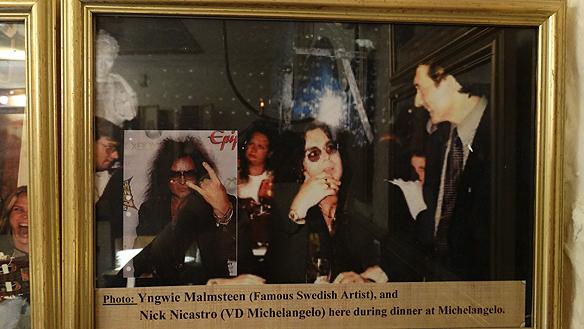 Yngwie Malmsteen besöker alltid Michelango när han besöker Sverige. Han var ofta här förr - och jag har intervjuat de som har serverat honom flera gånger, säger Peter Ahlborg. Foto: Peter Ahlborg