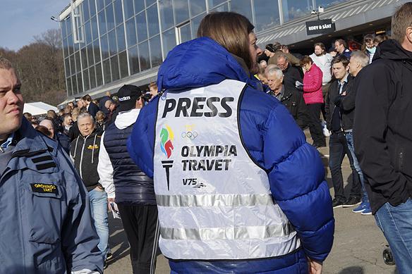 Peter Ahlborg bevakade Olympiatravet som press när tävlingen hölls den 29 april 2017. Foto: Charlie Källberg