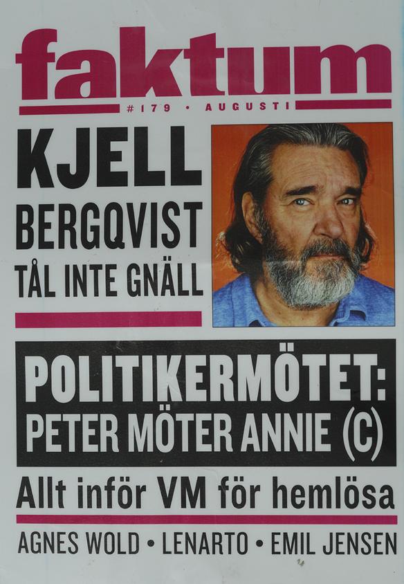 """Tidningen Faktums löpsedel # 179 i augusti 2017 med """"Politikermötet: Peter möter Annie (C)"""". Foto: Peter Ahlborg"""