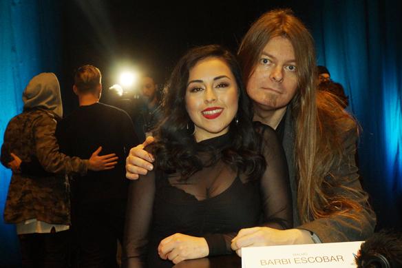 """Artisten Barbi Escobar gör sin premiär i Melodifestivalen i Göteborg med låten """"Stark"""". Här träffar Peter Ahlborg Barbi Escobar på en pressträff innan Melodifestivalen 2018. Foto: Privat"""