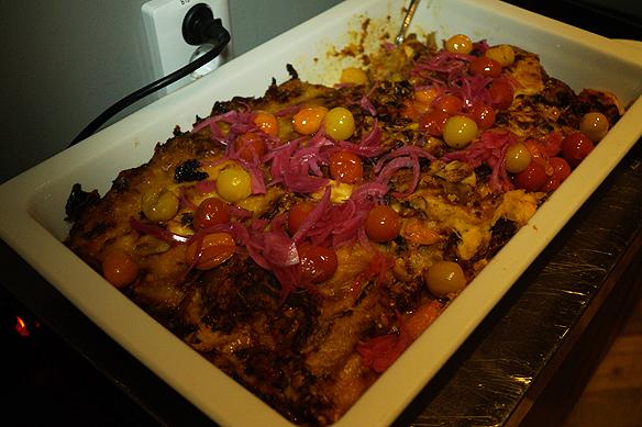 Utsökt mat, här bjöds det på vegetarisk lasagne och mina smaklökar mår prima, säger Peter Ahlborg. Foto: Peter Ahlborg