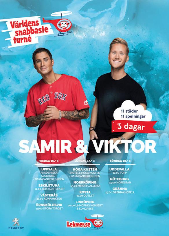 Samir & Viktor på blixtsnabb Sverigeturné - 11 spelningar i 11 städer på 3 dagar för ett världsrekordförsök. Logotype:Helene Wigren PR & BEYOND