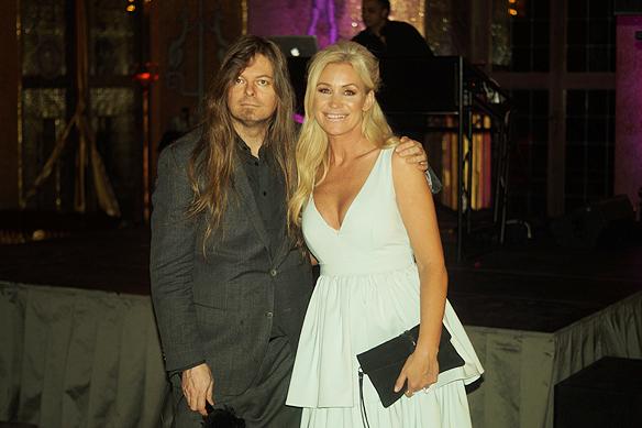 Jessica Andersson och Peter Ahlborg på Melodifestivalens välkomst fest i Stadshuset i Stockholm den 7 mars 2018. Foto: Christer Hansson