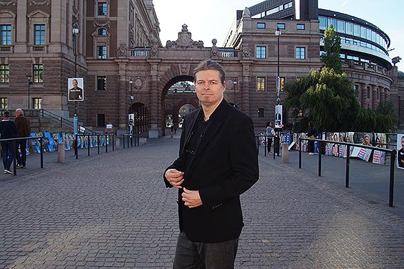 Peter Ahlborg här utanför Riksdagshuset på valdagen den 9 september 2018. Foto: Privat