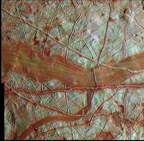 Streaks of red bands marking Europa's surface
