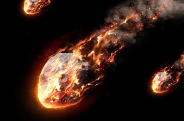 An artist's conception of fiery meteors descending
