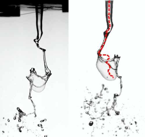 Two experimental shots showing the break-up of a jet surrounded by flow air