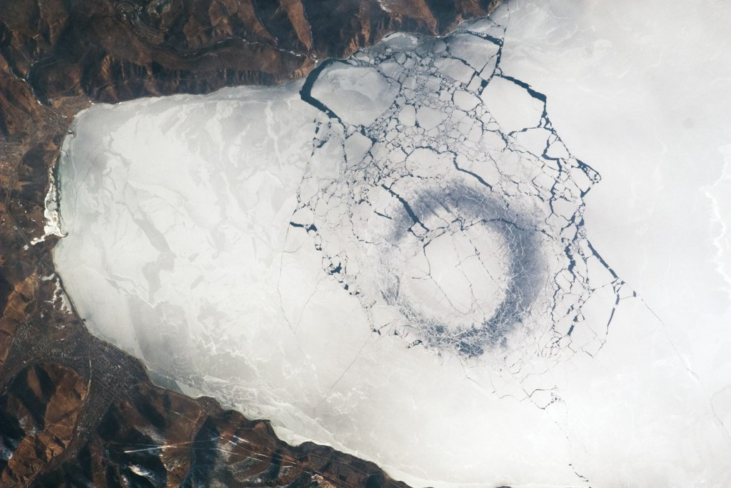 Ice ring observed on Lake Baikal, Russia from the ISS in April 2009.