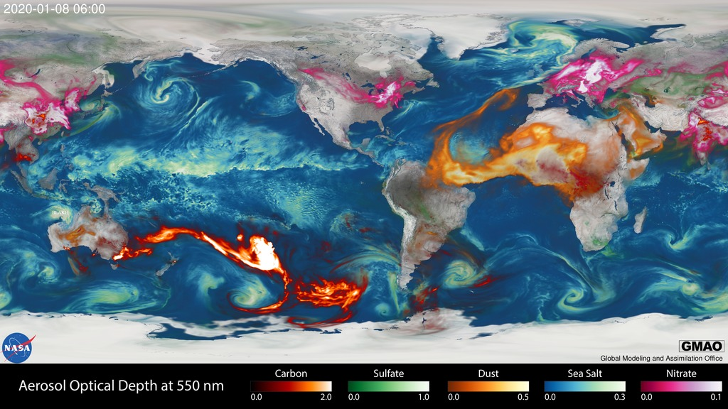 Still image showing aerosol transport from natural and manmade sources, including the Australian bushfires.