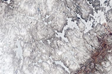 Satellite view of the Ivalo River.