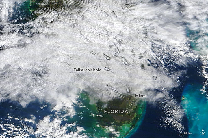 Fallstreak holes over Florida on January 7, 2021.