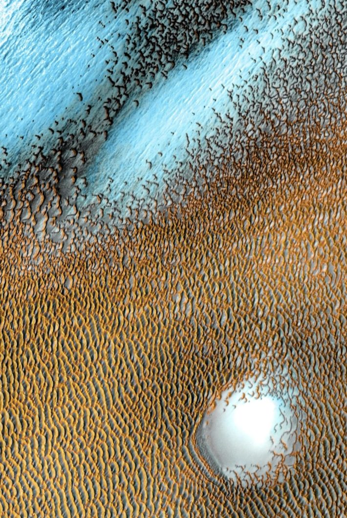 This false-color image shows a Martian dune field. Bluer areas are colder, yellower ones are warmer.