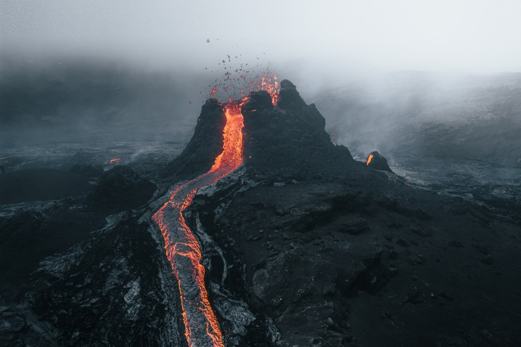 Lava spurts from a cone in the Fagradalsfjall eruption.