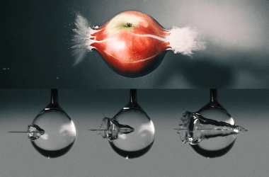 A visual comparison between a bullet flying through an apple and a microjet impacting a droplet.