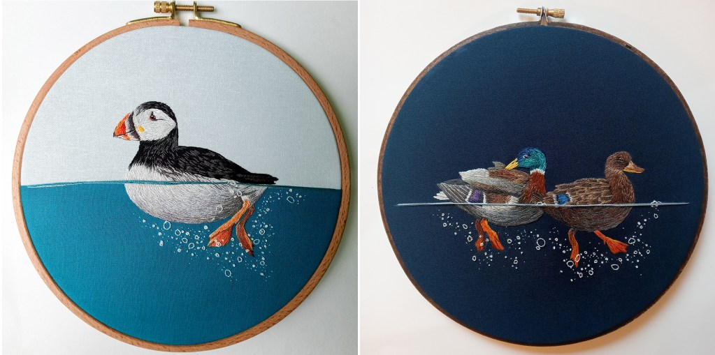 A puffin and mallards swim in these embroidered artworks.