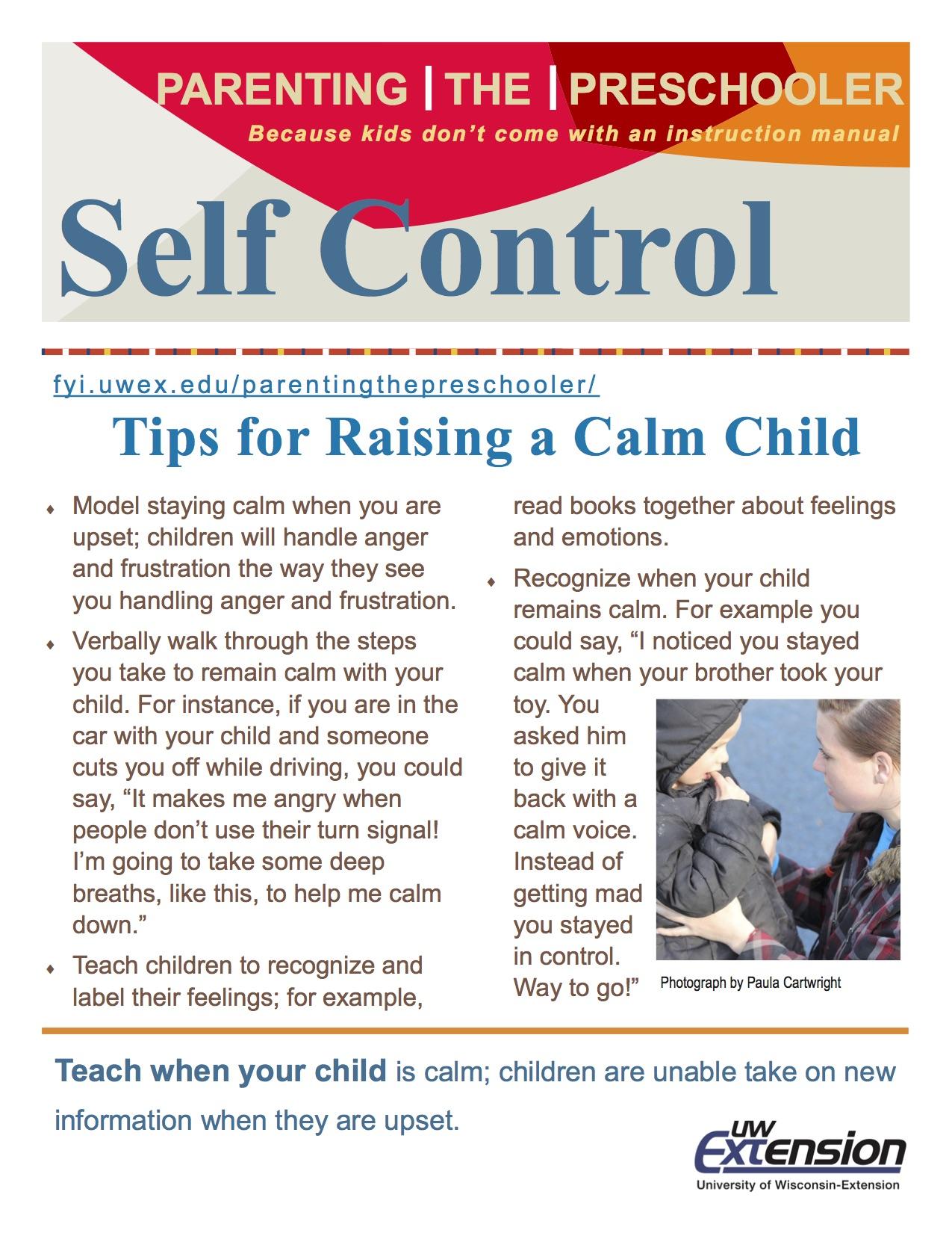 Self Control Parenting The Preschooler