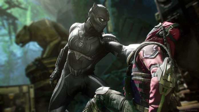 A screenshot of Black Panther plucking a Klaw mercenary off the ground with just one Vibranium-armored arm. He's in the jungle - the statue of a panther looks in the shadows behind them.