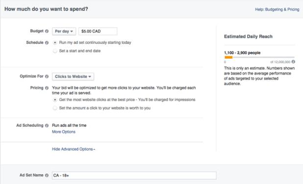 بودجه تبلیغات فیسبوک