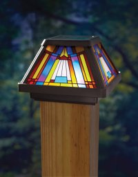 NEW Stained Glass Solar Power Light Fence Post Cap Mount ...