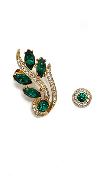 Ben-Amun Crystal Marquis Earrings - Gold/Emerald