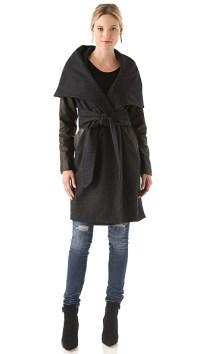 Mara Hoffman Leather Sleeve Shawl Coat   SHOPBOP