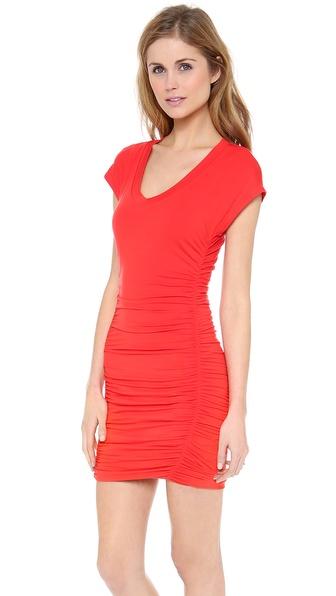 Splendid Ruched Cap Sleeve Dress