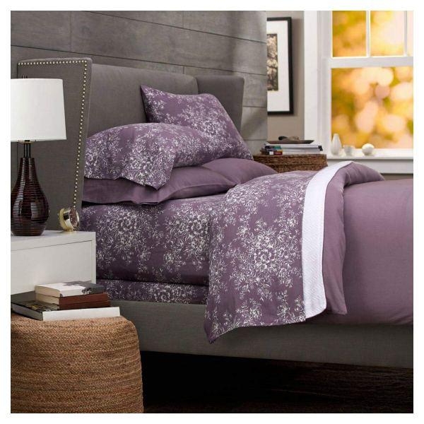 Pinzon Lightweight Cotton Flannel Sheet Set Queen Floral Lavender Duvet