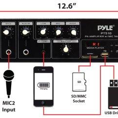 70 Volt Speaker Wiring Diagram Bmw Radio Amazon.com: Pyle Home Pt510 240 Watt Amplifier With 70v Output, Mic Talkover, Usb/sd Readers ...