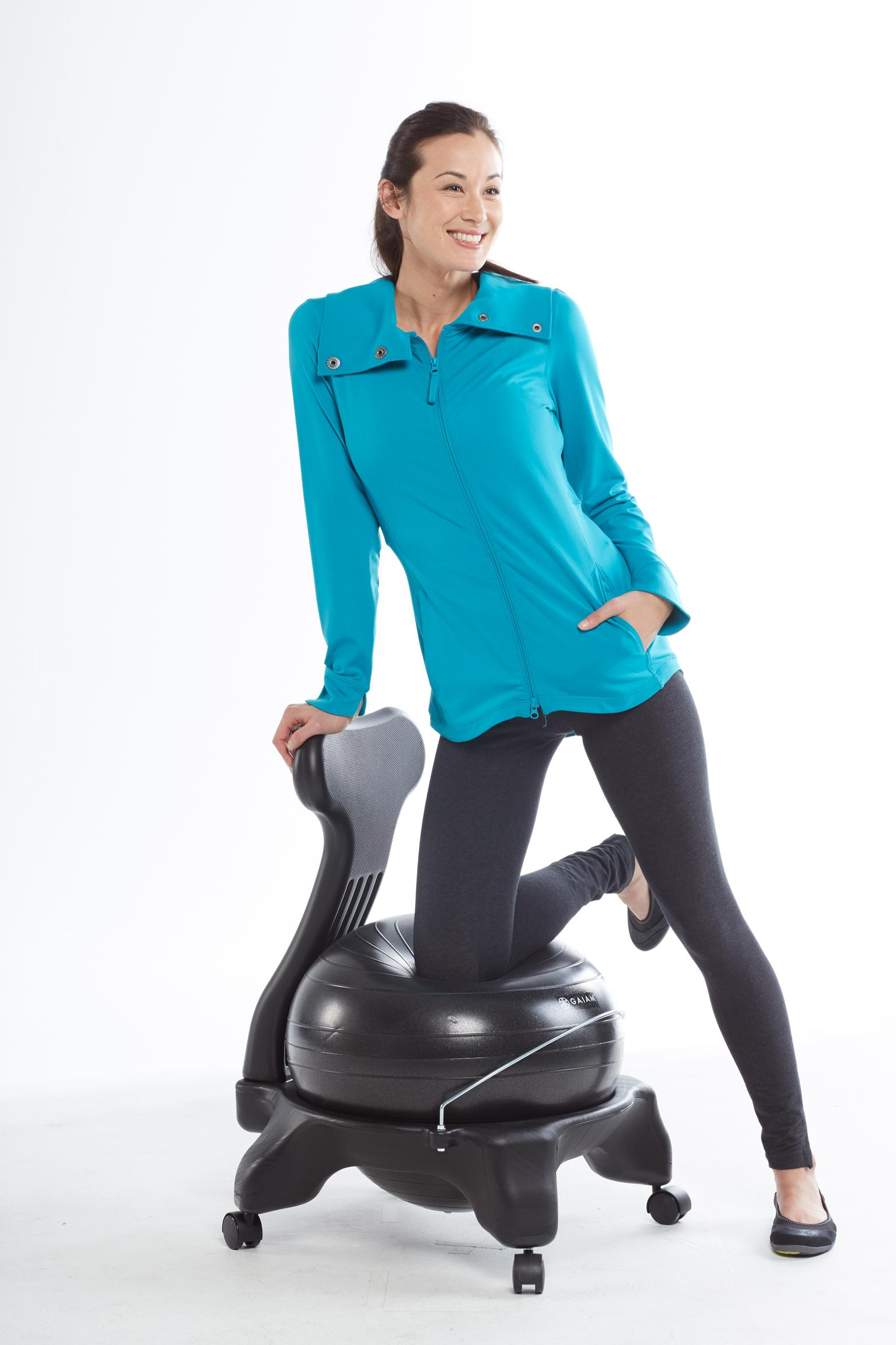 gaiam balance ball chair exercises ikea stretch covers amazon black exercise