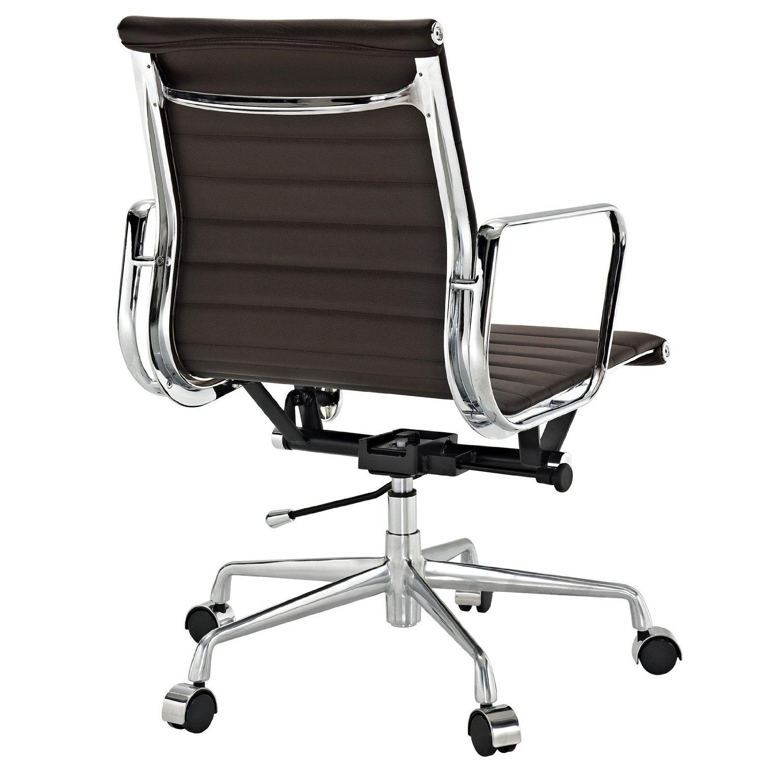 Brown Leather Office Chairs Amazon Lexmod Ribbed Mid Back Office Chair In Brown