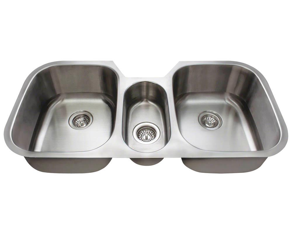 amazon undermount kitchen sink remodeling mr direct 4521-16 triple bowl stainless steel ...