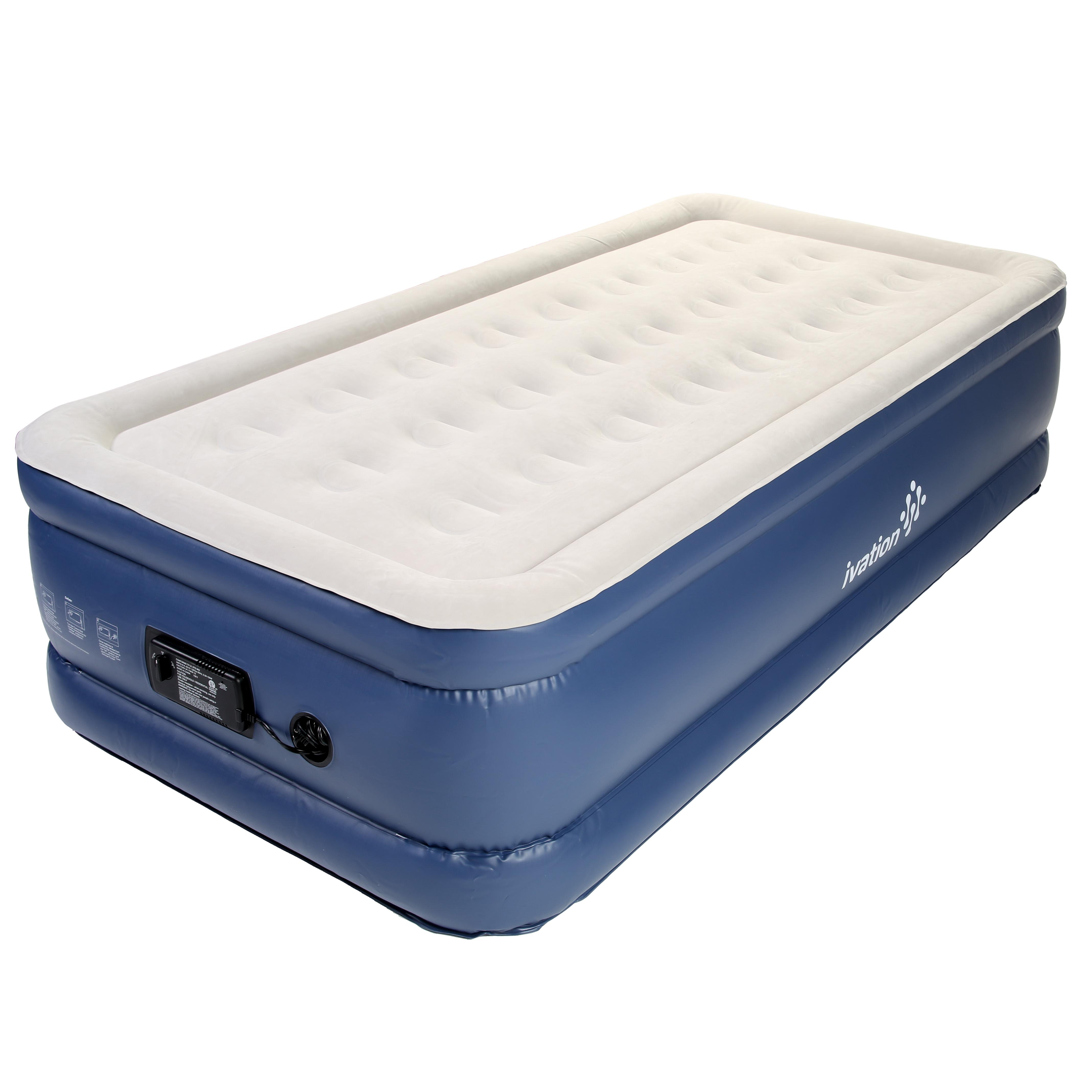 Ivation Inflatable Air Bed  Double Height Air Coil Mattress Construction with B