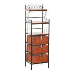Bakers Racks For Kitchen Pottery Barn Hutch Amazon Sei Manilla 3 Drawer Rattan Baker 39s Rack