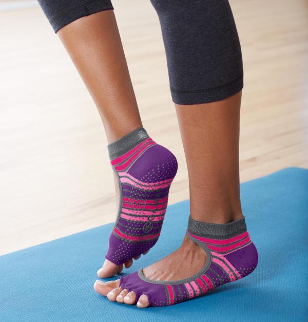 Gaiam Grippy Toeless Yoga Socks Mary Jane Small Medium Bright Bouquet Sports