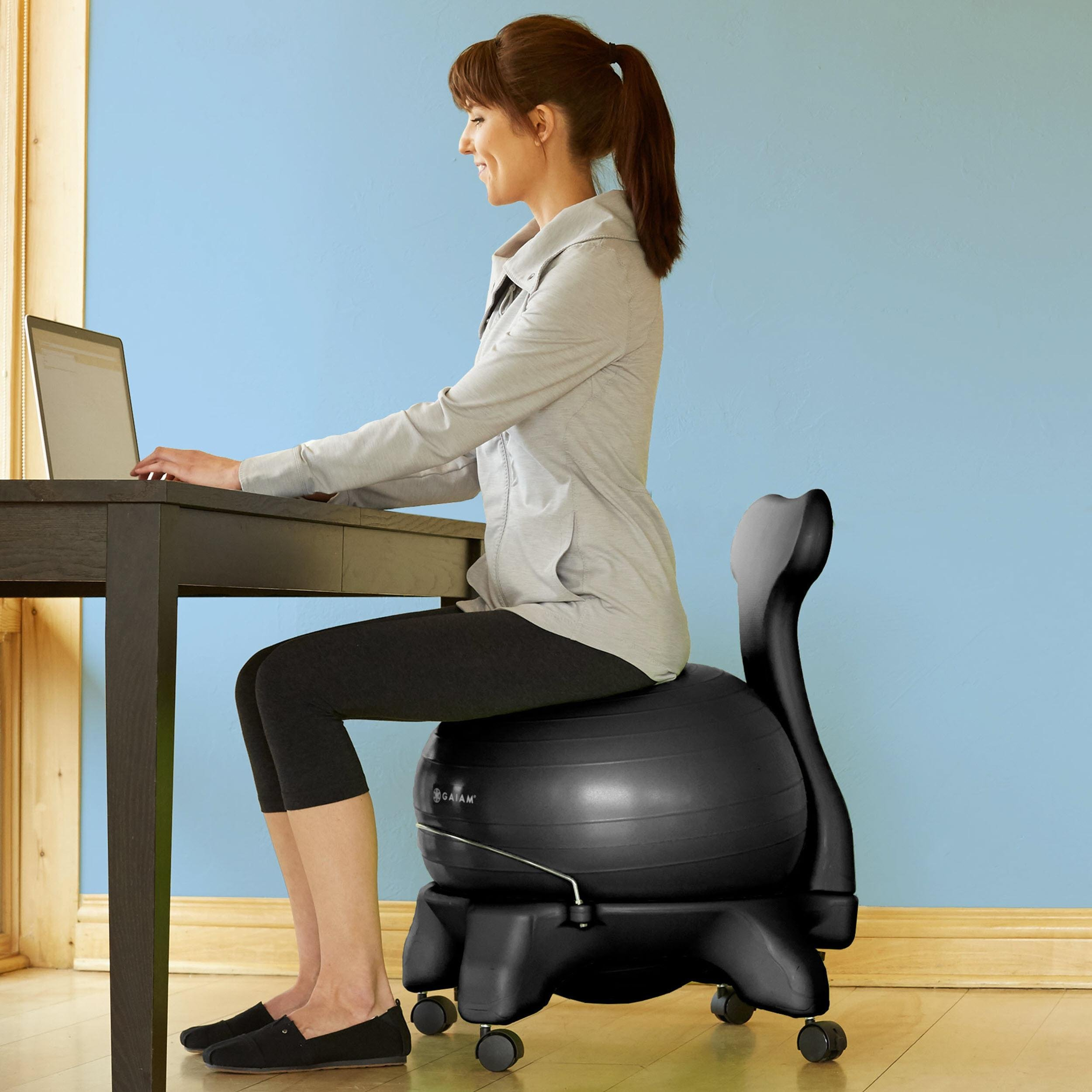 Yoga Ball Desk Chair Amazon Gaiam Balance Ball Chair Black Exercise