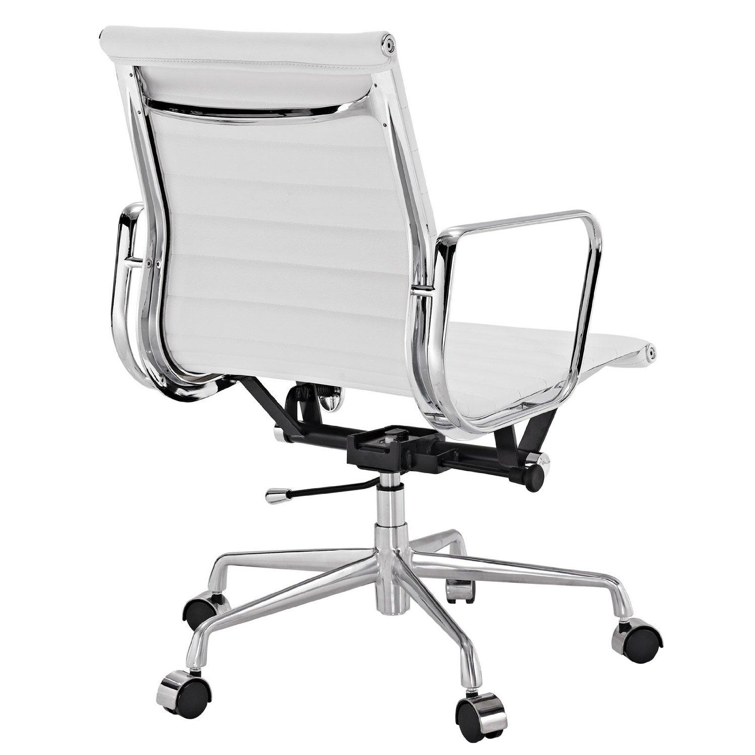Genuine Leather Office Chair Amazon Lexmod Ribbed Mid Back Office Chair In White