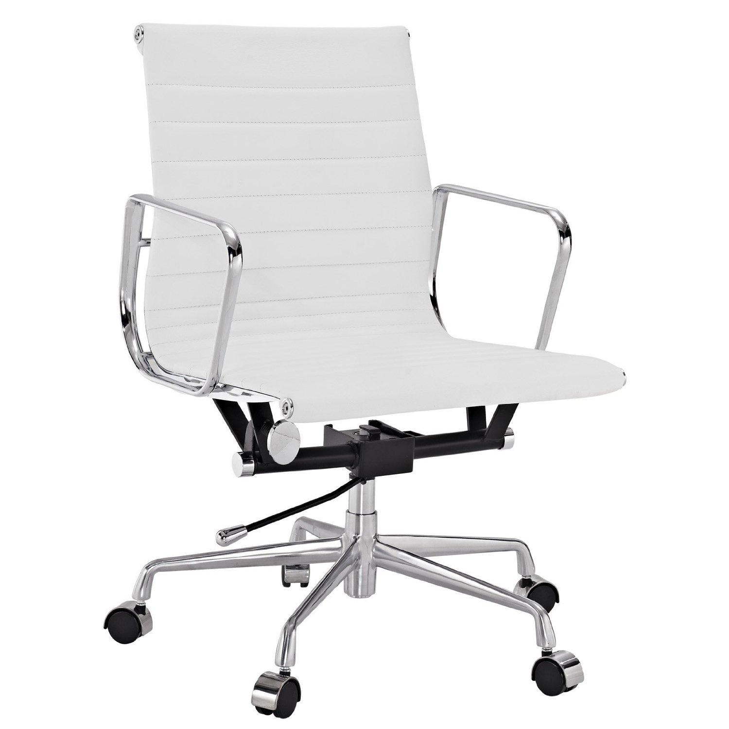 Real Leather Office Chair Amazon Lexmod Ribbed Mid Back Office Chair In White