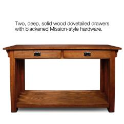 Mission Style Oak Sofa Table Blue Leather Reclining Hall Console