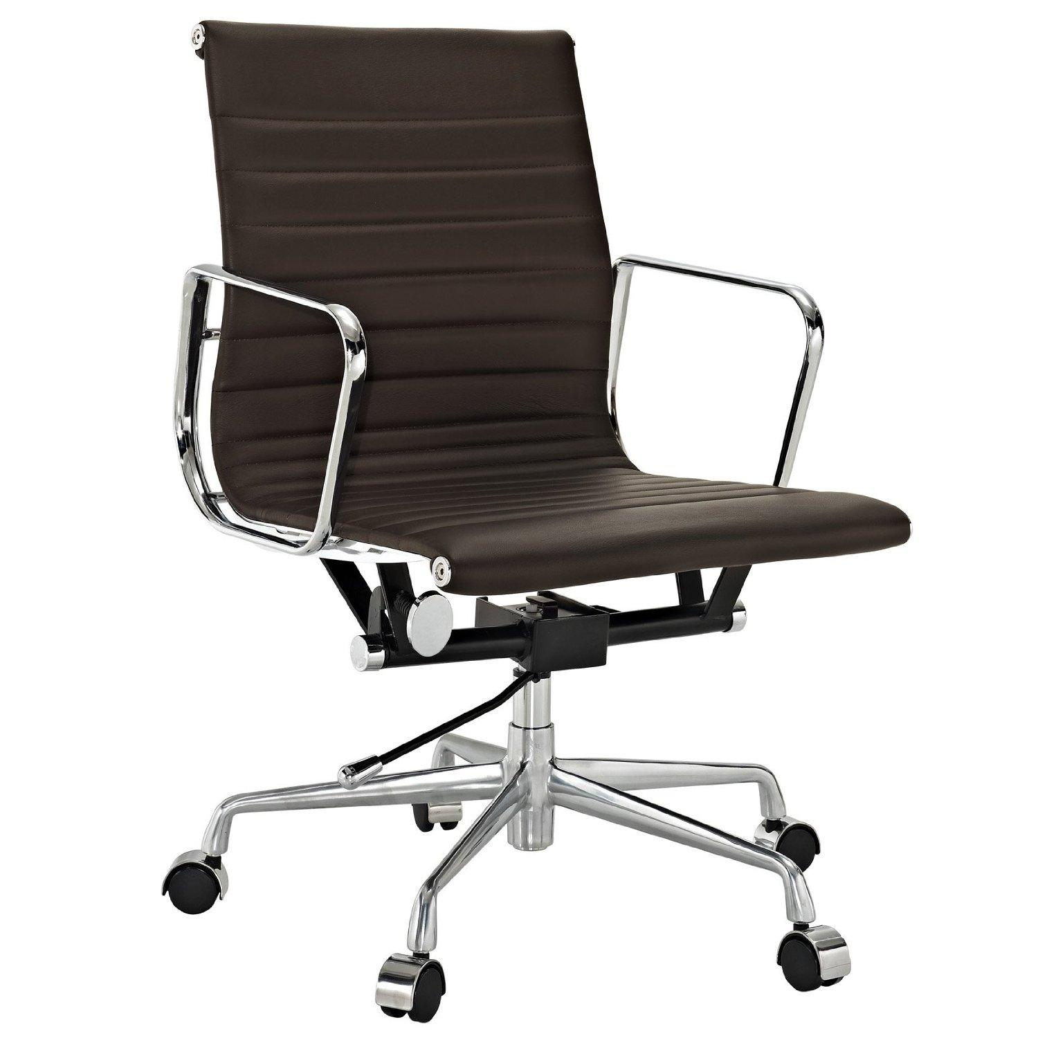 Amazoncom  LexMod Ribbed Mid Back Office Chair in Brown Genuine Leather  Desk Chairs