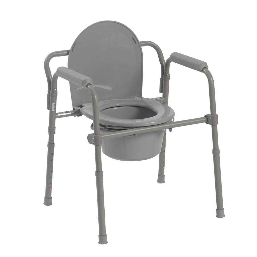 Folding Commode Chair Folding Steel Bedside Commode Toilet Seat Chair Senior