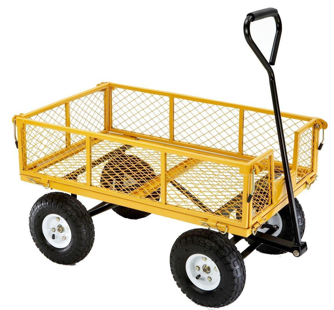 900lb Steel Utility Cart Dump Garden Yard Wagon Heavy Duty